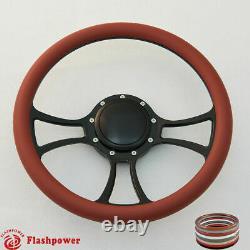 14 Billet Steering Wheel Black Half Wrap Ford GM Cutlass Impala GMC WithH
