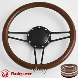 14'' Billet Steering Wheels Half Wrap Custom Chevy Ididit Flaming River with Horn