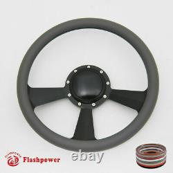 15.5 Billet Steering Wheel Black Half Wrap Replacement GMC Chevy With Horn Button