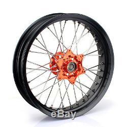 17 Supermoto Wheel Set Orange Hub KTM SX SXF SXS EXC 125 250 350 450 530 03-14
