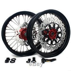 17'' Supermoto Wheels Rims for Honda CRF250R CRF450R 15-18 Brake Rotors Bracket