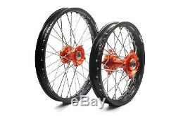 19 16 Big Kid's Wheels Rims Set For KTM85 SX 2003-2020 Orange Hub Black Rim