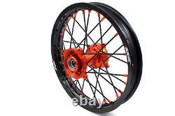 19 16 Kke Kid's Big Wheel Rim Set Fit Dirtbike Ktm85 Sx 2003-2019 Black Spoke