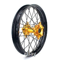 19 MX Rear Complete Wheel Kit Rim Gold Hub for Suzuki RMZ250 RMZ450 2007-2016