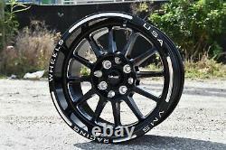1x Hawk Black Polished Drag Racing Rims Wheels 15x8 5X100/5X114 ET20