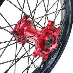 21 19 Complete MX Wheels Rim Set For Honda CRF250R 14-19 CRF450R 13-19 Red Hub