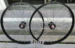 24 7X style Sealed High Flange BMX Wheels Freewheel Pair Black Anodized