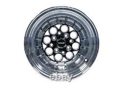 2X Revolver Black Milling Polished Drag Racing Wheels 13x9 4X100/4X114 ET0 73.1
