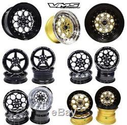 2X Revolver Machine Gold Black Lip Drag Racing Wheels 13x9 4X100/4X114 ET0 73.1