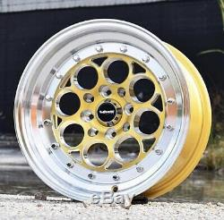 2x Gold Machined Polished Lip Revolver Drag Racing Wheels 15x8 4X100/4X114 ET20