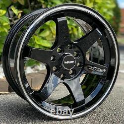 2x SuperHawk Black Milling Finish Drag Racing Wheel Rim 15x7 4X100 4X114 ET30