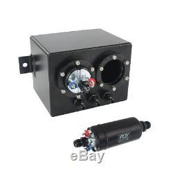 3L Dual Aluminum Fuel Surge Tank With 044 type Fuel Pump 380LPH Black 1600HP+