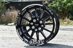4x Hawk Black Polished Drag Racing Rims Wheels 15x8 5X100/5X114 ET20
