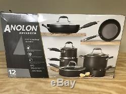 Anolon Advanced 12pc Hard Anodized Nonstick Cookware Set New