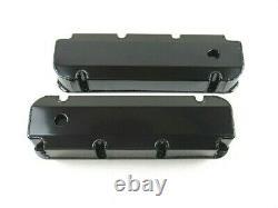 BBF Ford 429-460 Fabricated Aluminum Valve Covers with Hole Black Ano E41363BA