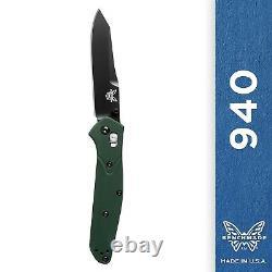 Benchmade 940BK Knife Reverse Tanto Osborne Black Blade Green Handle Plain Edge