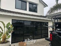 Black Anodized Aluminum & 1/2 Insulated Grey Tinted Glass Garage Door 9'x7