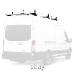 Black Vantech H1 3 Bar Aluminum Ladder Rack with ROLLER for Ford Transit Cargo Van