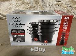 Calphalon Premier 12-piece Hard Anodized Space Saving Cookware