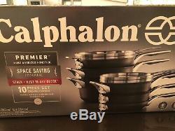 Calphalon Premier Space Saving Hard Anodized Nonstick 10 Piece Cookware Set NEW