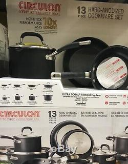 Circulon Premier Professional Hard Anodized 13 Piece Non Stick Pan Set-Black