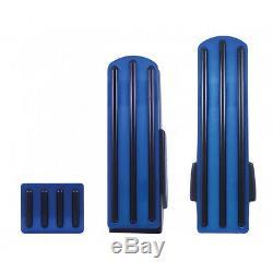 Foot Pedal Set Gas Brake Clutch Black Insert Blue Anodized Aluminum for Kenworth