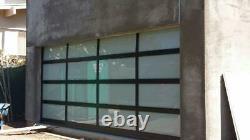 Full View 16' x 7' Black Anodized Aluminum & White Laminate Glass Garage Door