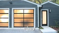 Full View 16'x7' Black Anodized Aluminum & Tempered Frosted Glass Garage Door