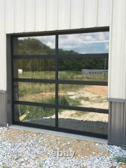 Full View 9' x 7' Black Anodized Aluminum & 1/4 Clear Glass Garage Door