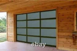 Full View Garage Door 8 ft By 7 ft Anodized Black Frame With Frosted Glass