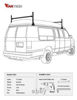 GMC Savana Conversion Van 2 bar 1996-2019 Ladder Roof Rack Aluminum Black