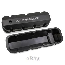 Holley Valve Cover Set 241-281 Fabricated Black Anodized Aluminum for Chevy BBC