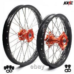 KKE 17 14 Small Kid's Wheels Rims For 85 SX 2003-2020 Orange Hub Black Rims