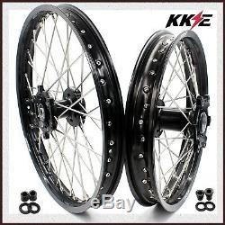 KKE 21/18 DRZ400 DRZ400E DRZ400S DRZ400SM Enduro Wheels Rim Set For SUZUKI Black