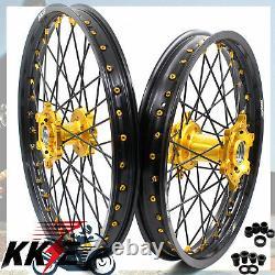 KKE 21 18 Enduro Wheel Rim Set Fit Suzuki RM125 RM250 1996-2008 Black Spoke