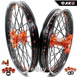 KKE 21/18 Enduro Wheels Rims Fit KTM EXCR EXCW EXCF 125-530CC 350 Black Spoke