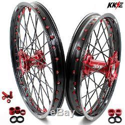 KKE 21/19 CNC Wheels Rims Set For HONDA CRF450R 2002-2012 CRF250R 2004-2013 Red