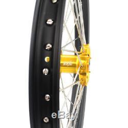 KKE 21/19 MX Dirt Bikes Wheels Rims Set For SUZUKI RM125 01-07 RM250 2008 Gold