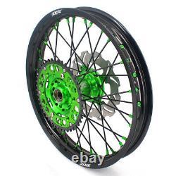 KKE 21/19 MX Wheels Rims for Kawasaki KX125 KX250 1993-2002 Green Black Discs