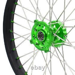 KKE 21/19 MX Wheels Rims for Kawasaki KX250F KX450F 2006-2020 Green Nipple Black
