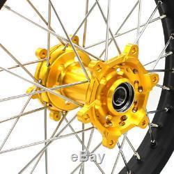 KKE 21/19 MX Wheels Set for Suzuki RM125 RM250 1996-2000 Gold Hubs Black Rims