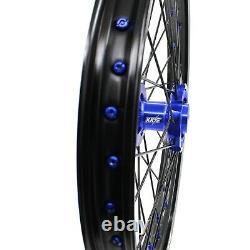 KKE 21/19 Mx Wheels Rims Fit YAMAHA YZ125 YZ250 YZ250F YZ450F Blue Black Spoke