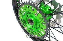 KKE 21/19 Mx Wheels Rims Set Fit KAWASAKI KX125 KX250 2003-2005 Disc Green Black