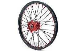 KKE 21/19 Mx Wheels Rims Set For SUZUKI RM125 2007 RM250 1996-2008 Black Spoke