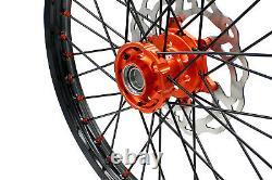 KKE 21/19 Mx Wheels Rims Set For SX SXF XCW XC-F 125-530CC 2003-2021 Black Spoke