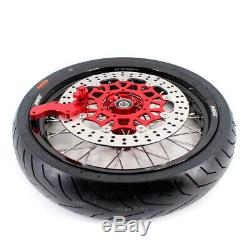 KKE 3.5/4.25 Supermoto Motard Wheels Rim Set For HONDA XR650R 2000-2008 CST Tire