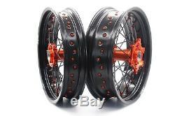 KKE 3.5/4.2517 Supermoto Wheels Rims Set Fit KTM XCFW SXF EXC 125-530 250 Black