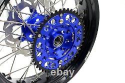 Kke 17 Supermoto Motard Wheel Rim Set Fit Yamaha Yz250f Yz450f 2003-2020 Blue