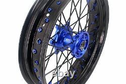 Kke 17 Supermoto Wheel Rim Set Fit Suzuki Drz400 Drz400s E Drz400sm Blue/black