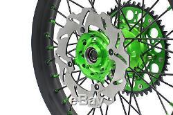 Kke 21/19 Dirtbike MX Wheel Rim Fit Kawasaki Kx125 Kx250 1993-2002 Black Spoke